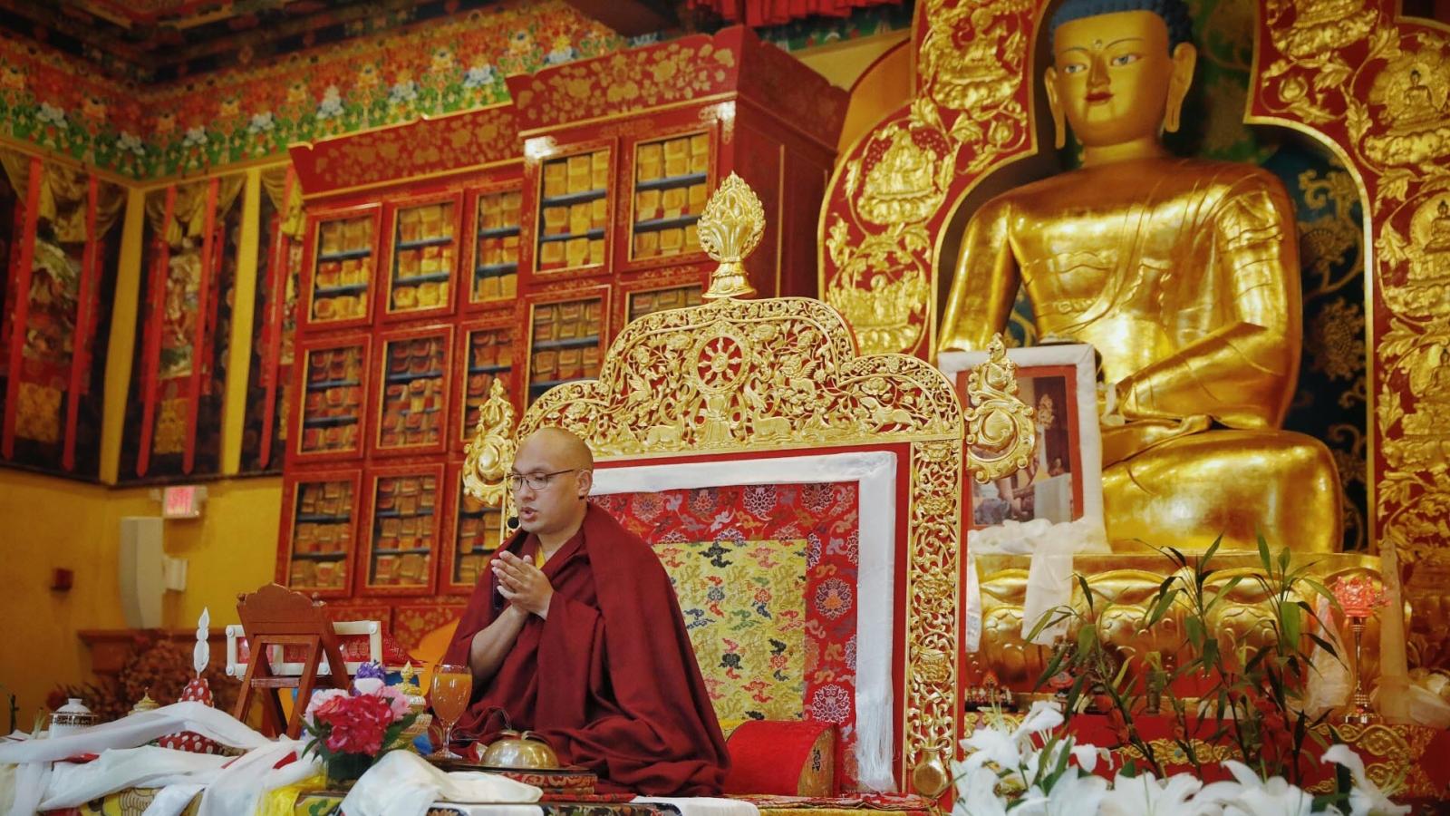 The Karmapa attending a Karma Pakshi ganachakra at KTD