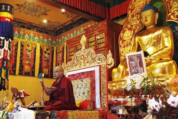 Karmapa playing drum