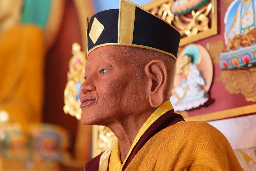 First Karmapa Dusum Khyenpa Statue by 17th Karmapa