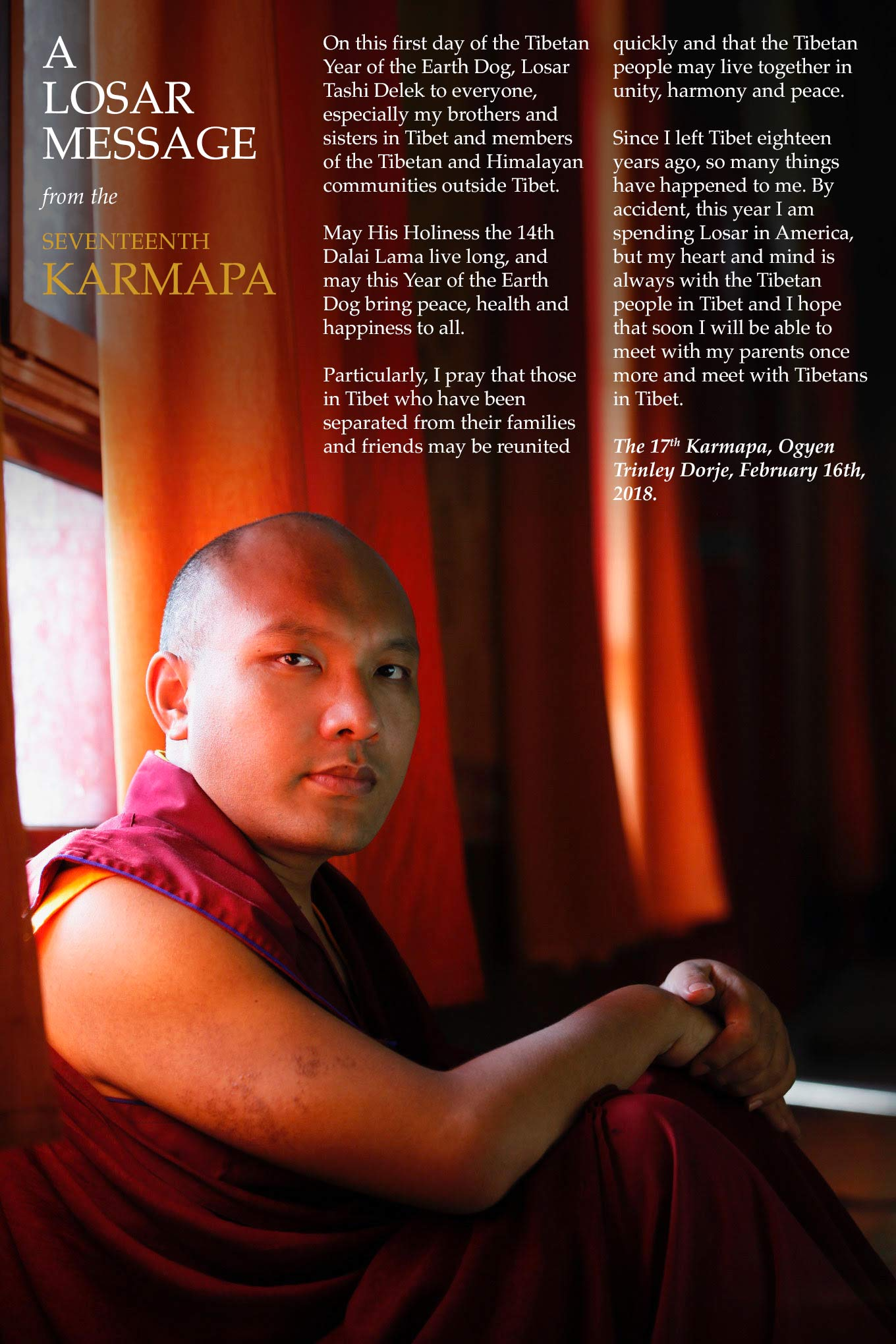 A Losar Message from the Gyalwang Karmapa | Karmapa – The