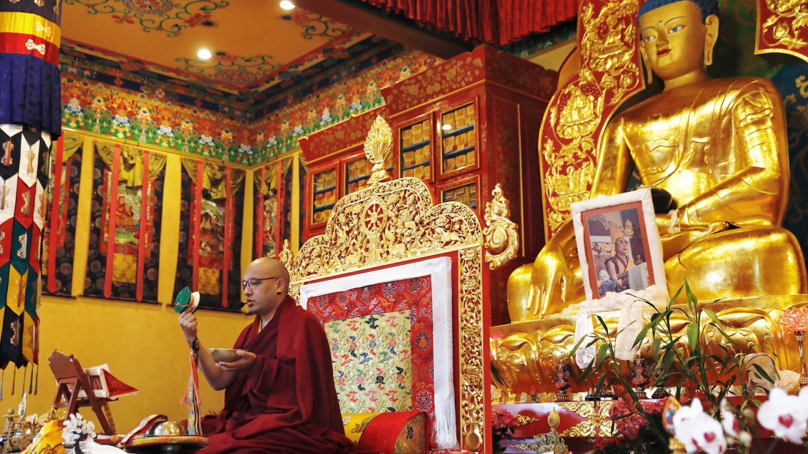 Karmapa playing drum