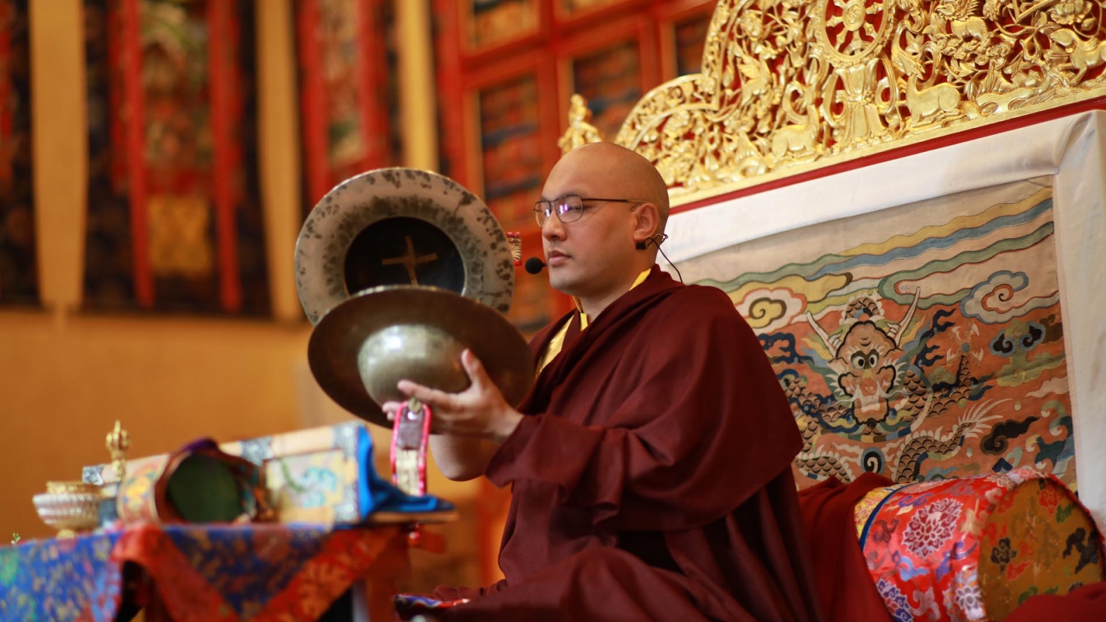 Karmapa playing cymbols