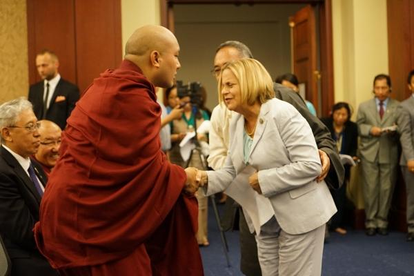 The Gyalwang Karmapa Felicitates His Holiness the Dalai Lama